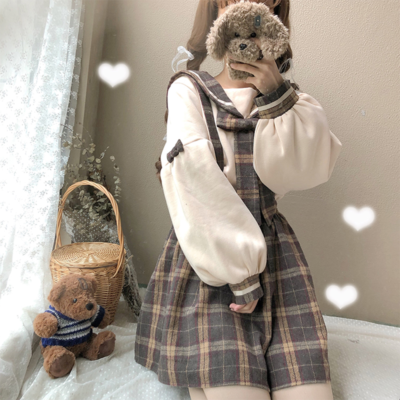 【set】[単品注文]ガーリー系チェック柄スカート +切り替えPOLOネックシャツ16448139