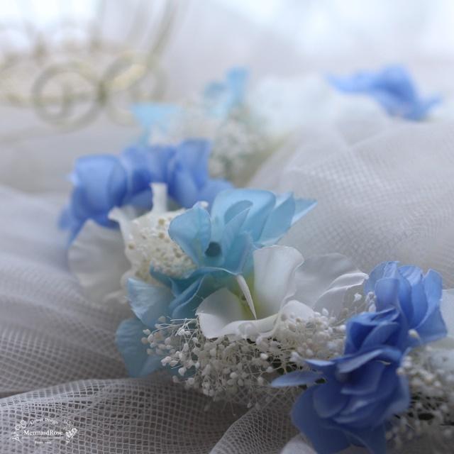 花冠*スイトピー&アジサイ&かすみ草*ブルー系
