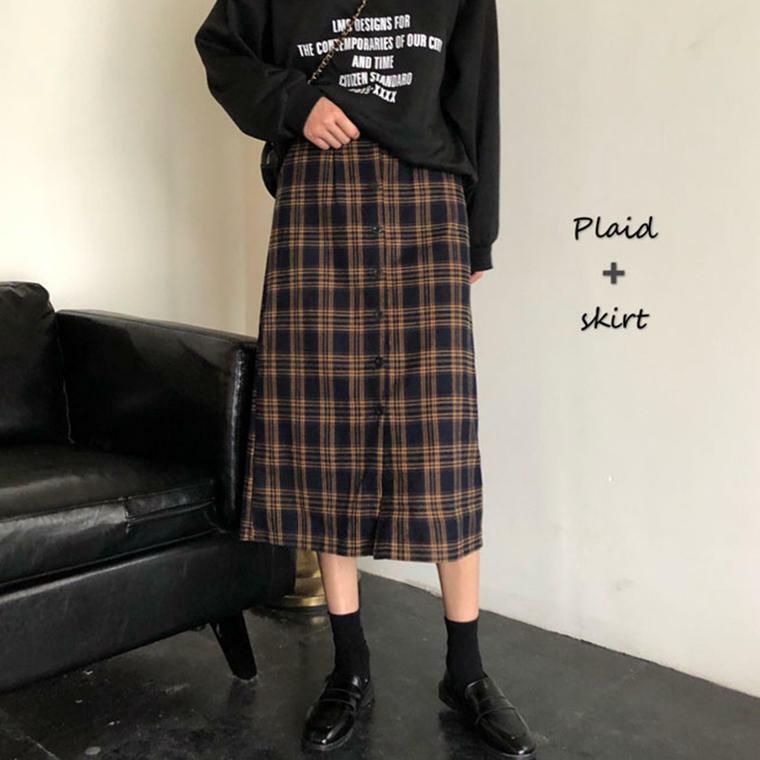 【送料無料】 大人見えスカート♡ チェック柄 フロントボタン ミモレ丈 スカート タイト 脚長