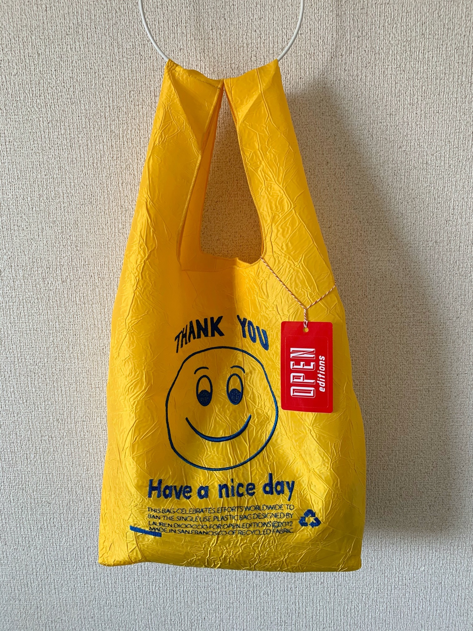 【OPEN EDITIONS】THANK YOU TOTE エコバッグ/ SMILE Yellow