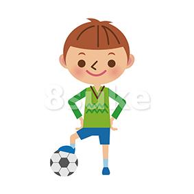 イラスト素材:サッカーボールで遊ぶ男の子(ベクター・JPG)
