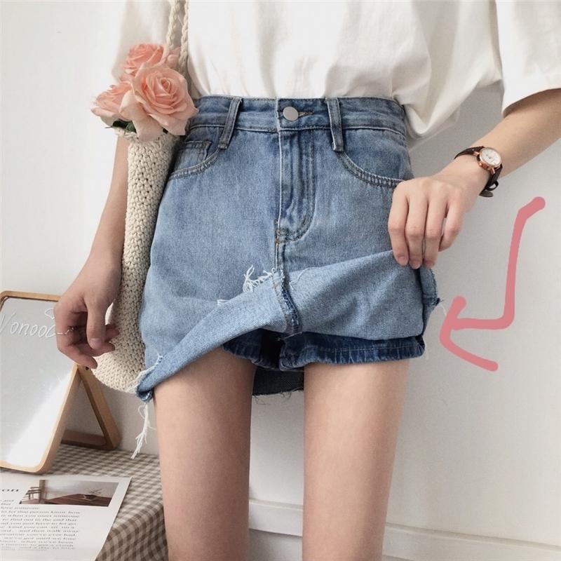 【送料無料】 ミニスカート風♡ ハイウエスト 台形 デニム ショートパンツ 美脚 脚長
