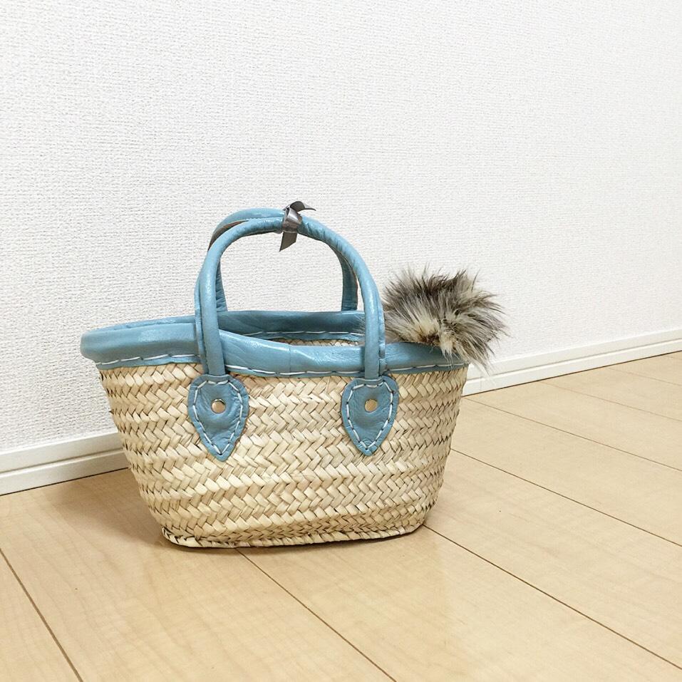 【かごバッグ】合皮取手マルシェSSサイズ 水色
