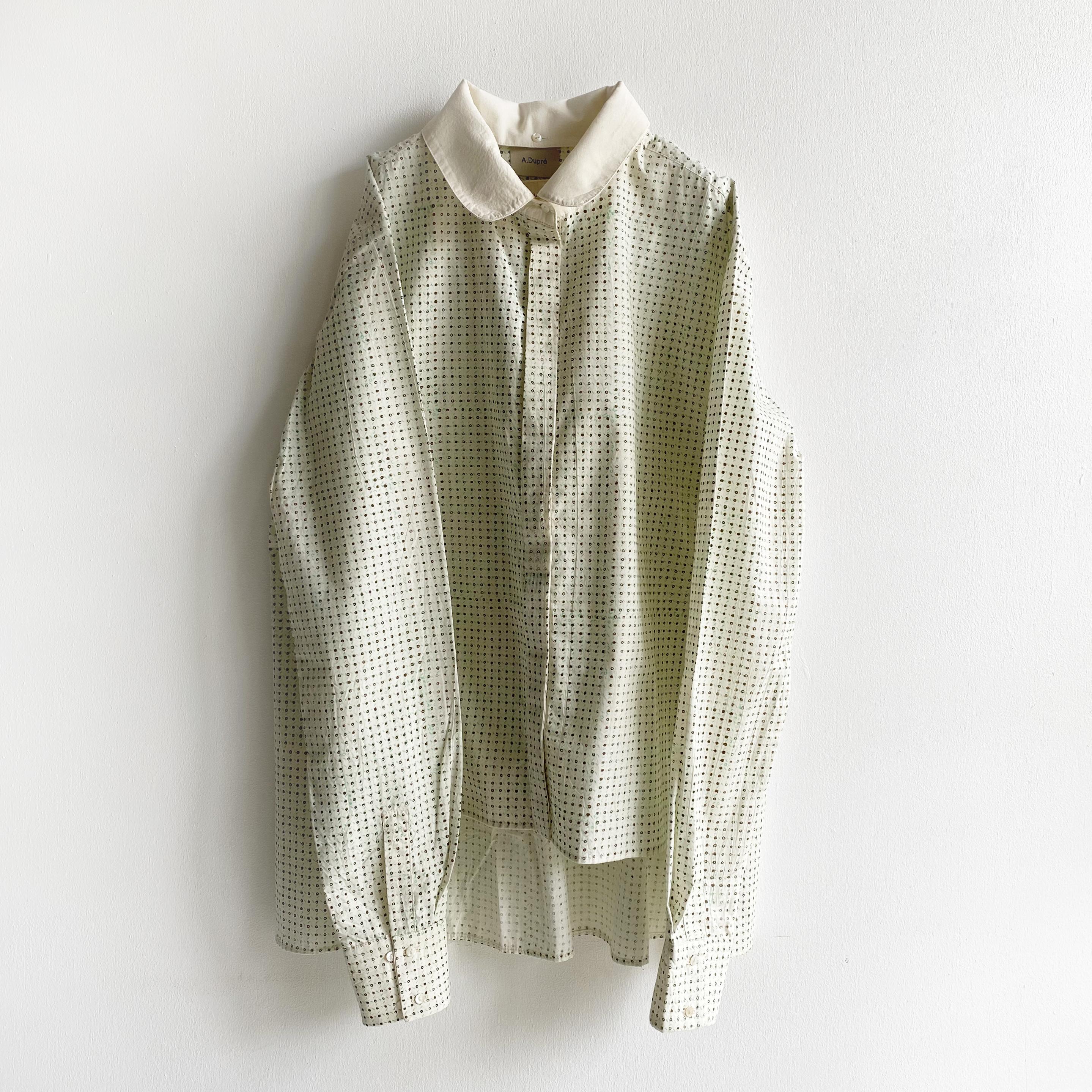 "Three way collar side slit blouse ""block print geometric"" organic cotton"