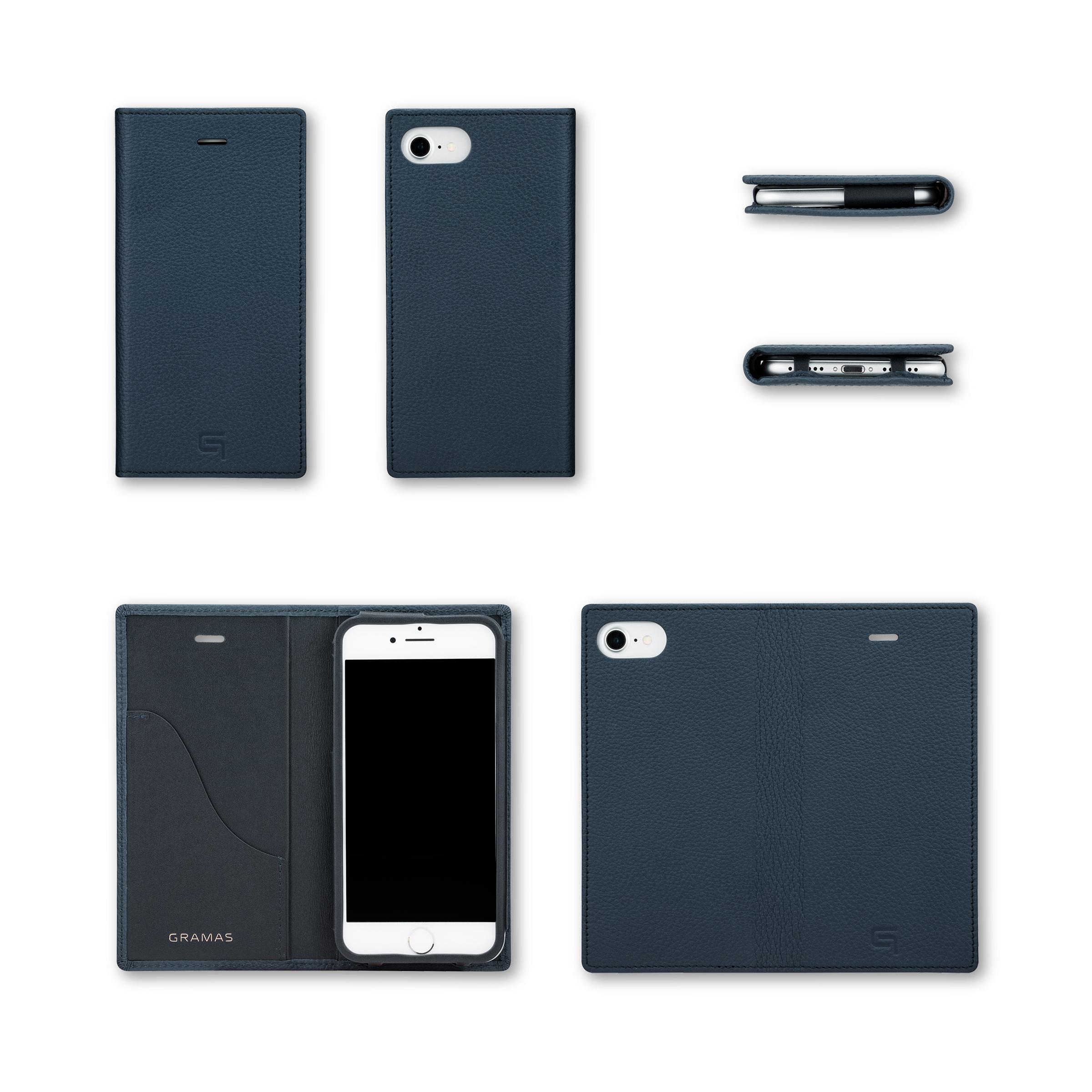 GRAMAS Shrunken-calf Full Leather Case for iPhone 7(Navy) シュランケンカーフ 手帳型フルレザーケース GLC646NV - 画像5