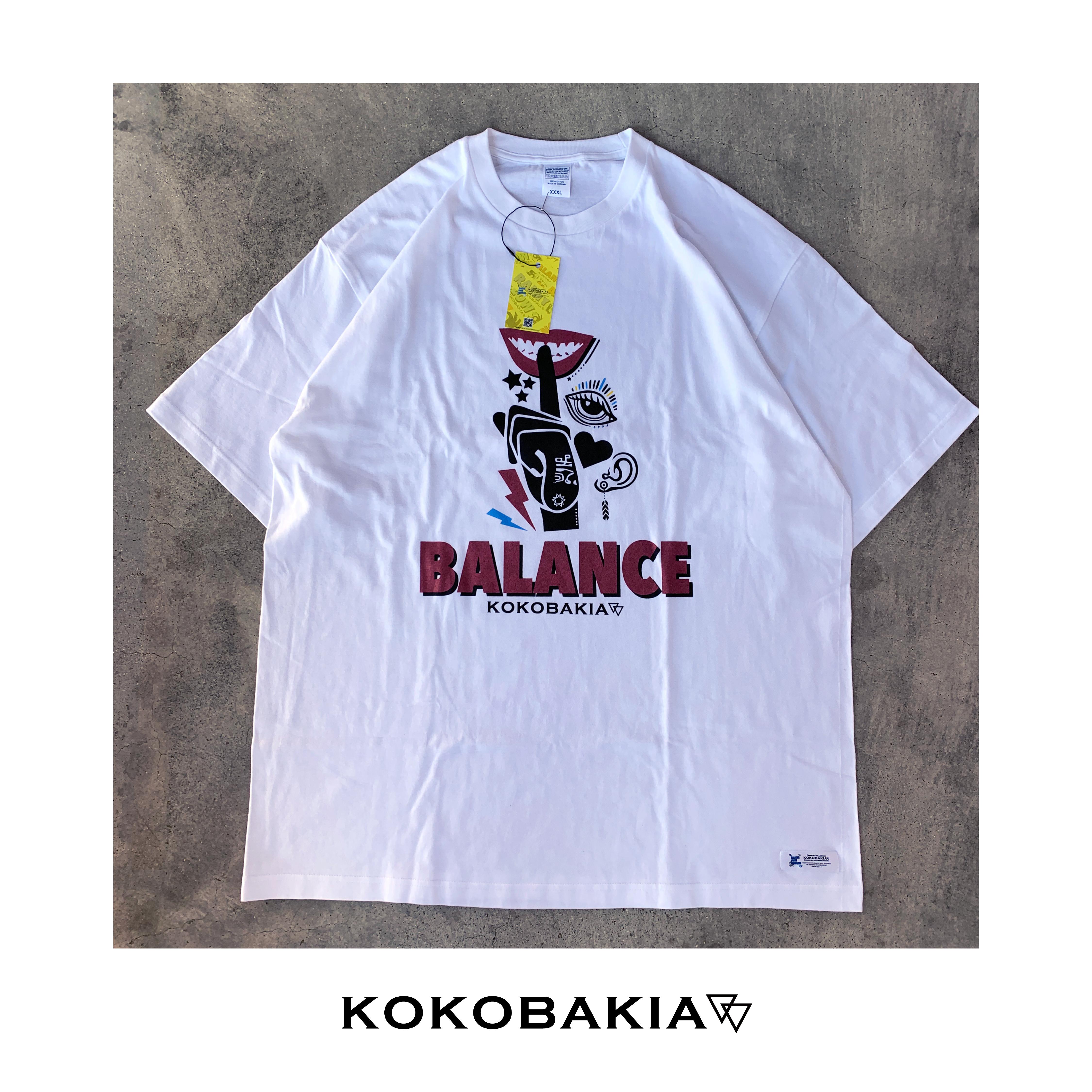 半袖Tシャツ BALANCE【バランス】 ホワイト メンズ レディース かわいい イラスト ロゴ デザイン #ロックファッション #ストリートファッション