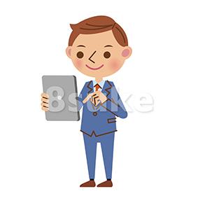 イラスト素材:タブレット端末を使う若いビジネスマン(ベクター・JPG)