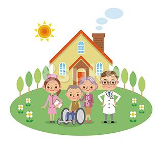 イラスト素材:在宅医療スタッフと患者イメージ(医者・看護師・老夫婦)(ベクター・JPG)