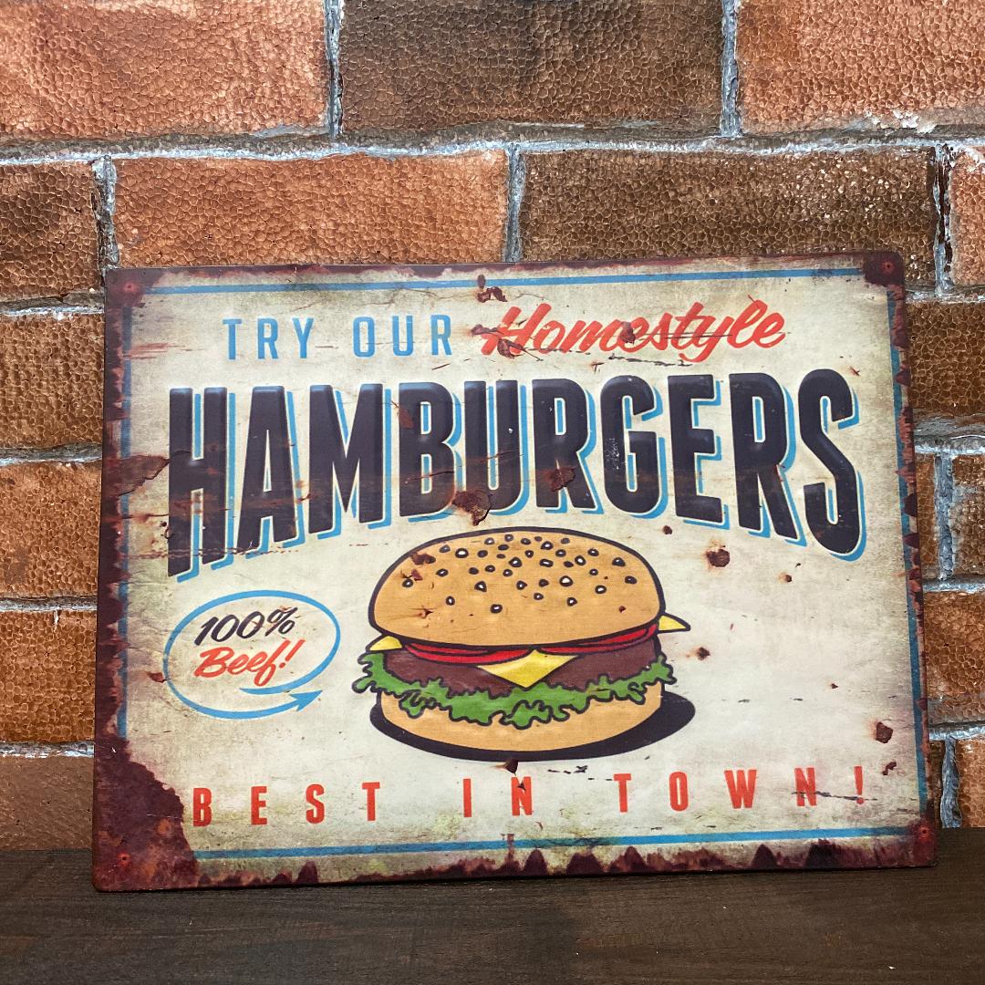 ハンバーガー ブリキ 看板 レトロな一品 アメリカン雑貨