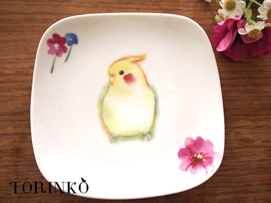 インコとお花 オカメインコの皿