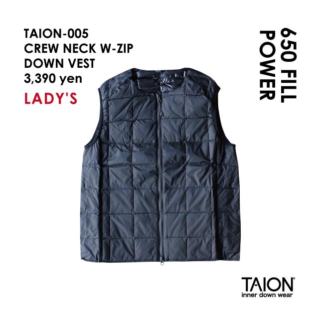 Free shipping NOW!! / Ladies' / TAION-005 CREW NECK W-ZIP DOWN VEST / Black / 2018