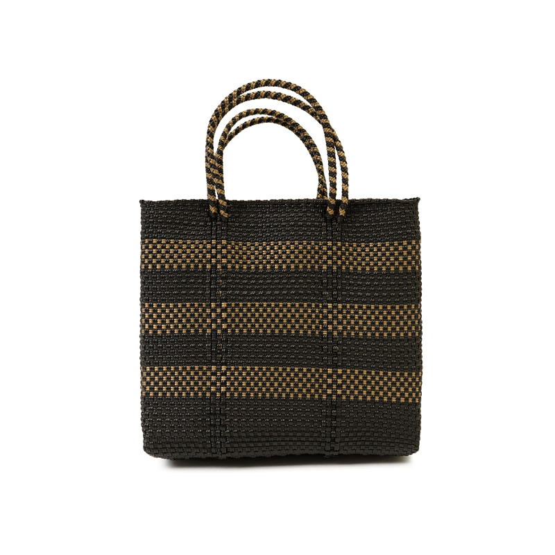 MERCADO BAG BORDER2-Black x Gold (S)