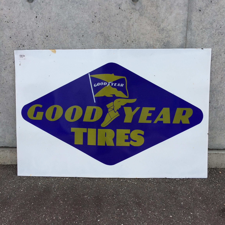 品番0568 GOODYEAR TIRES グッドイヤー タイヤ サインプレート 看板 スチール製 ヴィンテージ 011