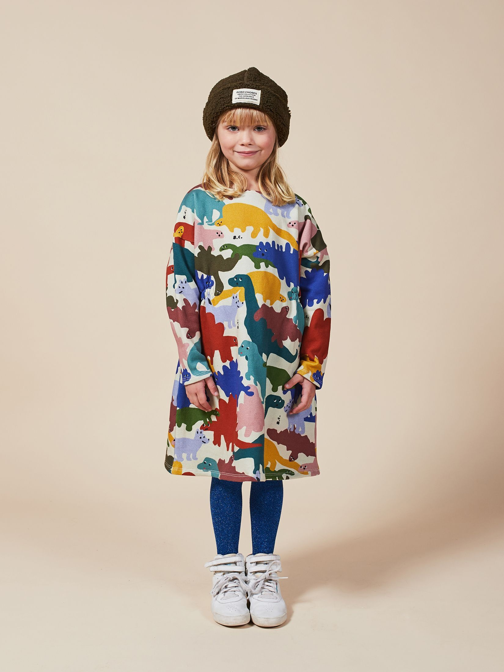 BOBO CHOSES ボボショセス Dinos All Over Fleece Dress size:2-3Y(100)~8-9Y(130)