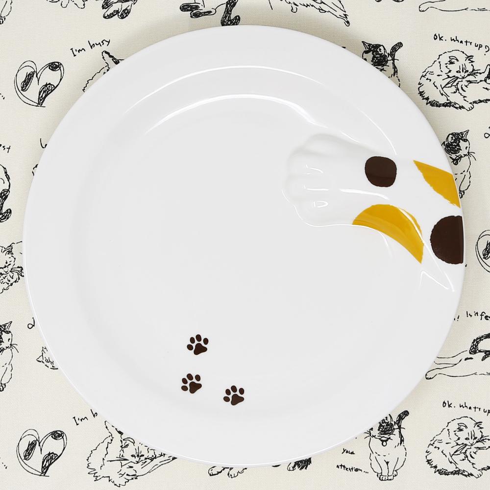 猫皿(どろぼう猫プレート)三毛猫