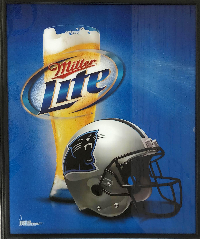 品番0576 サインボード 『Miller Lite・NFL パンサーズ』 ミラーライトビール 壁掛 看板 アメリカン雑貨 ヴィンテージ