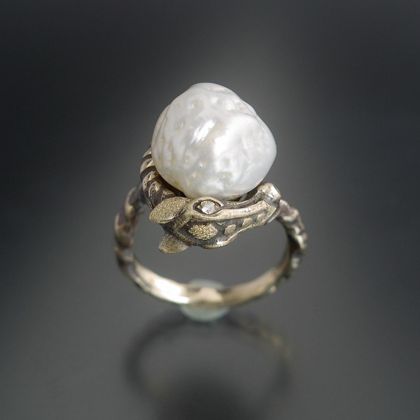 妖怪ジュエリー 馬リング 『 さがり 』 K10YG*南洋真珠*ダイヤモンド