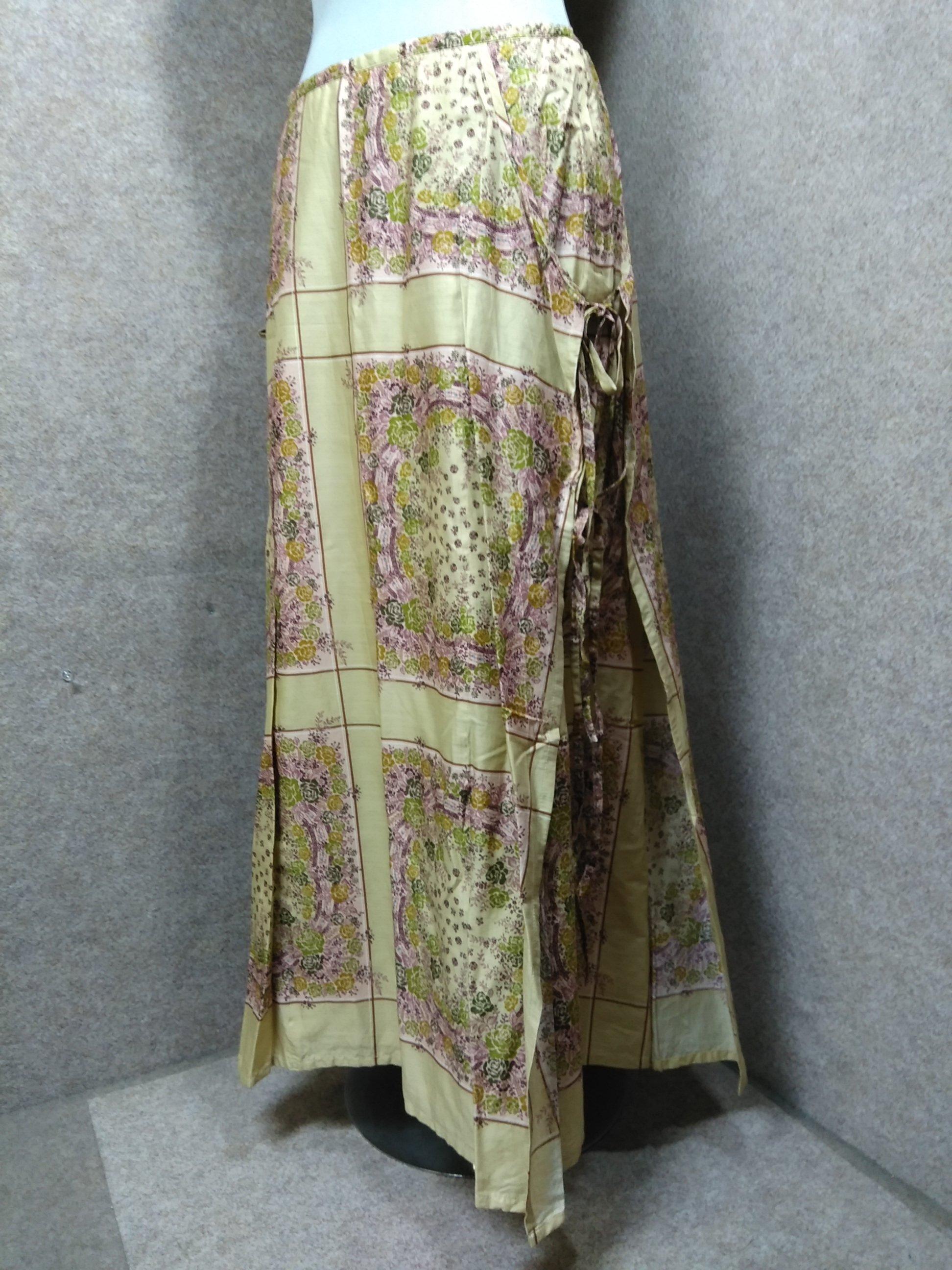 インゲボルグ ピンクハウス 綿 ロングスカート M 花柄 薄茶系 mu967c
