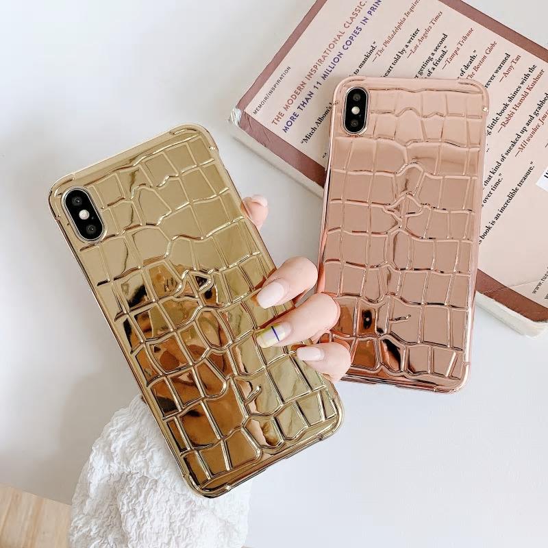 【お取り寄せ商品、送料無料】4カラー メタリックカラー クロコダイル ソフト iPhoneケース