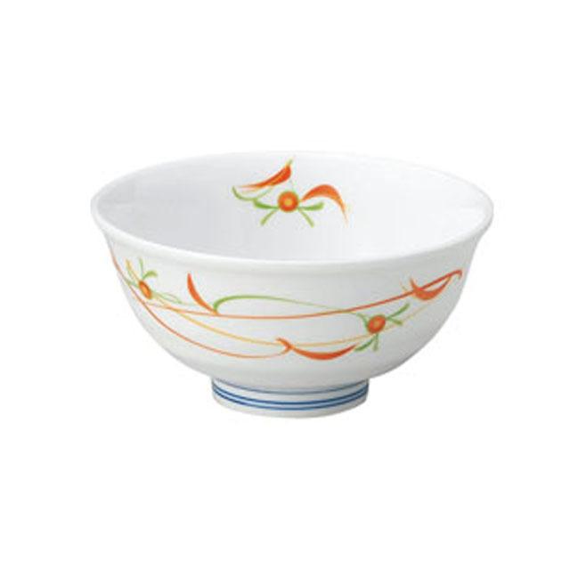 【2001-4230】ろくべい茶碗 小(口径11cm) 子ども・女性向け 赤絵小花