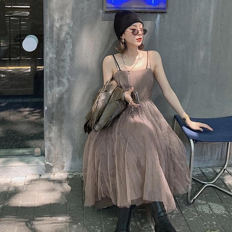 volume flare camisole dress