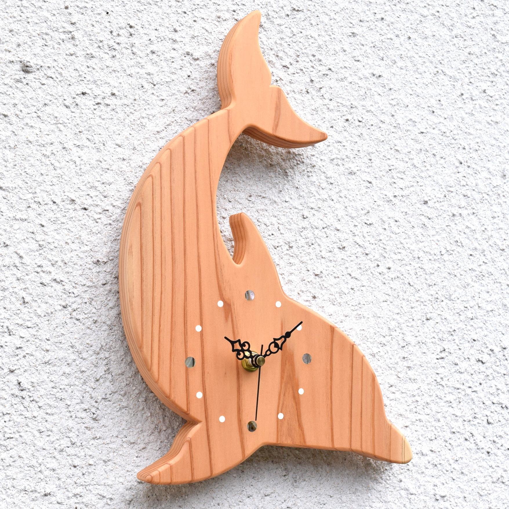 【海の生き物】掛時計『イルカ』【智頭杉】