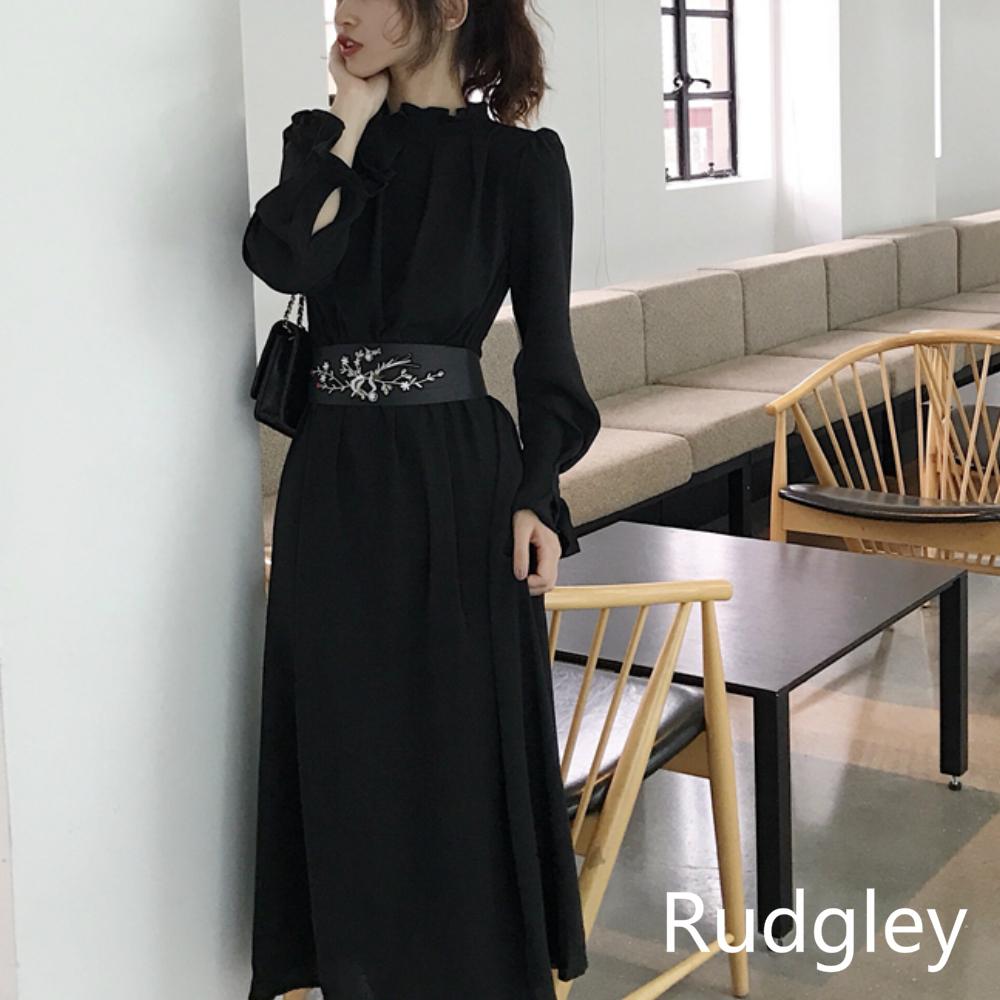 ベルト付きロングドレス長袖シック韓国