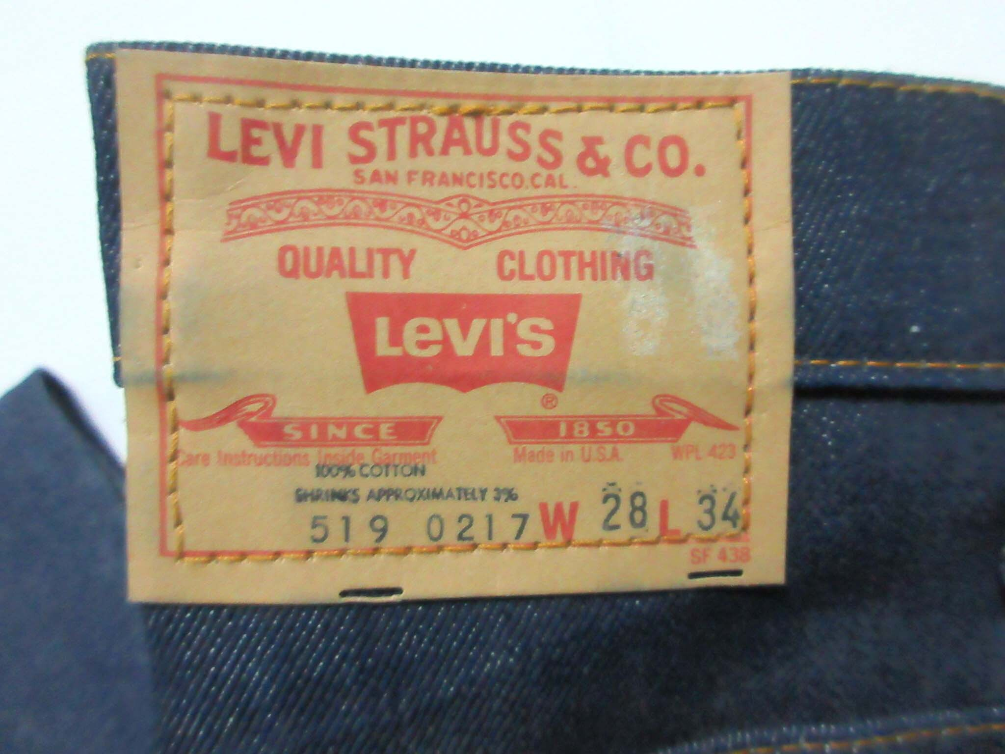80's Levi's 519-0217 / 28×34 / STRAIGHT LEG / Made in USA / Dead Stock