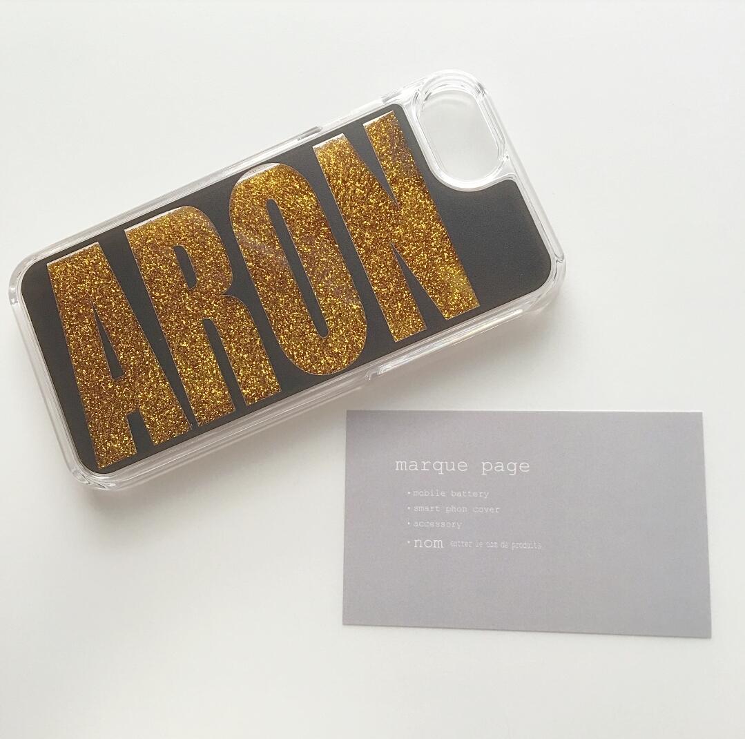 受注発注:name glitter smart phone cover black