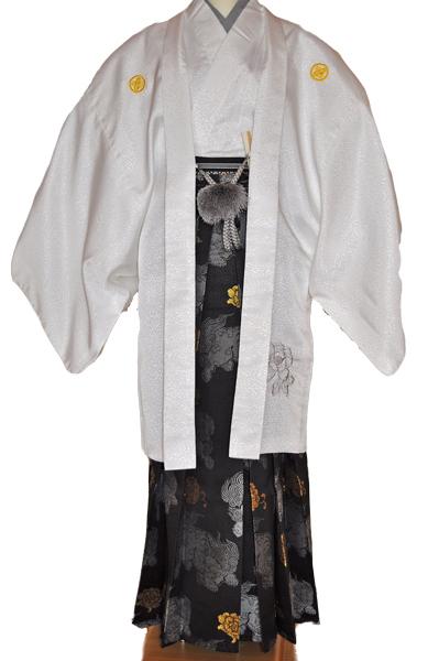 レンタル男性用shishi01【紋付袴】白地着物に牡丹刺繍の羽織と獅子の袴フルセット[往復送料無料] - 画像2