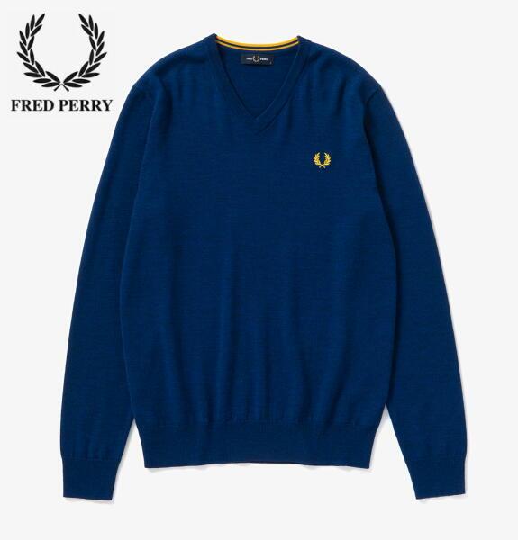 フレッドペリー Vネック ニット メンズ FRED PERRY CLASSIC MERINO V NECK JUMPER K7600 MEDIEVAL BLUE MARL 正規販売店