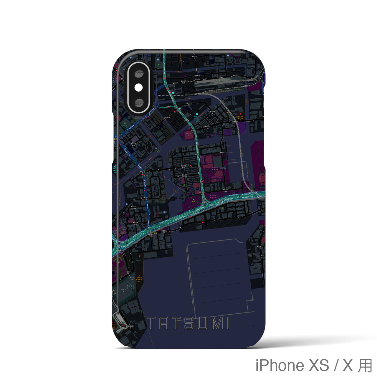 【辰巳】地図柄iPhoneケース(バックカバータイプ・ブラック)