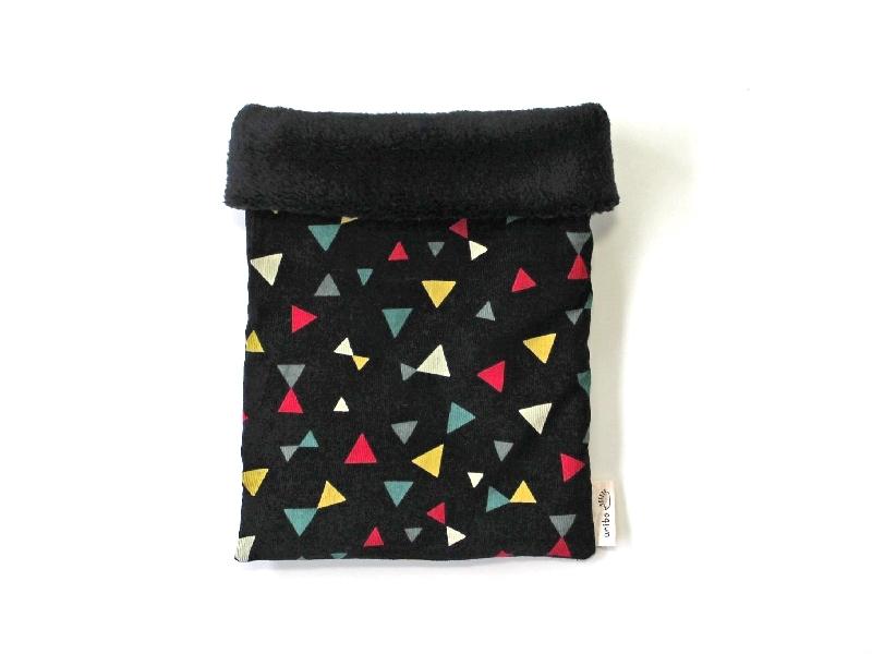 ハリネズミ用寝袋 M(冬用) コーデュロイ×ボアフリース トライアングル ブラック