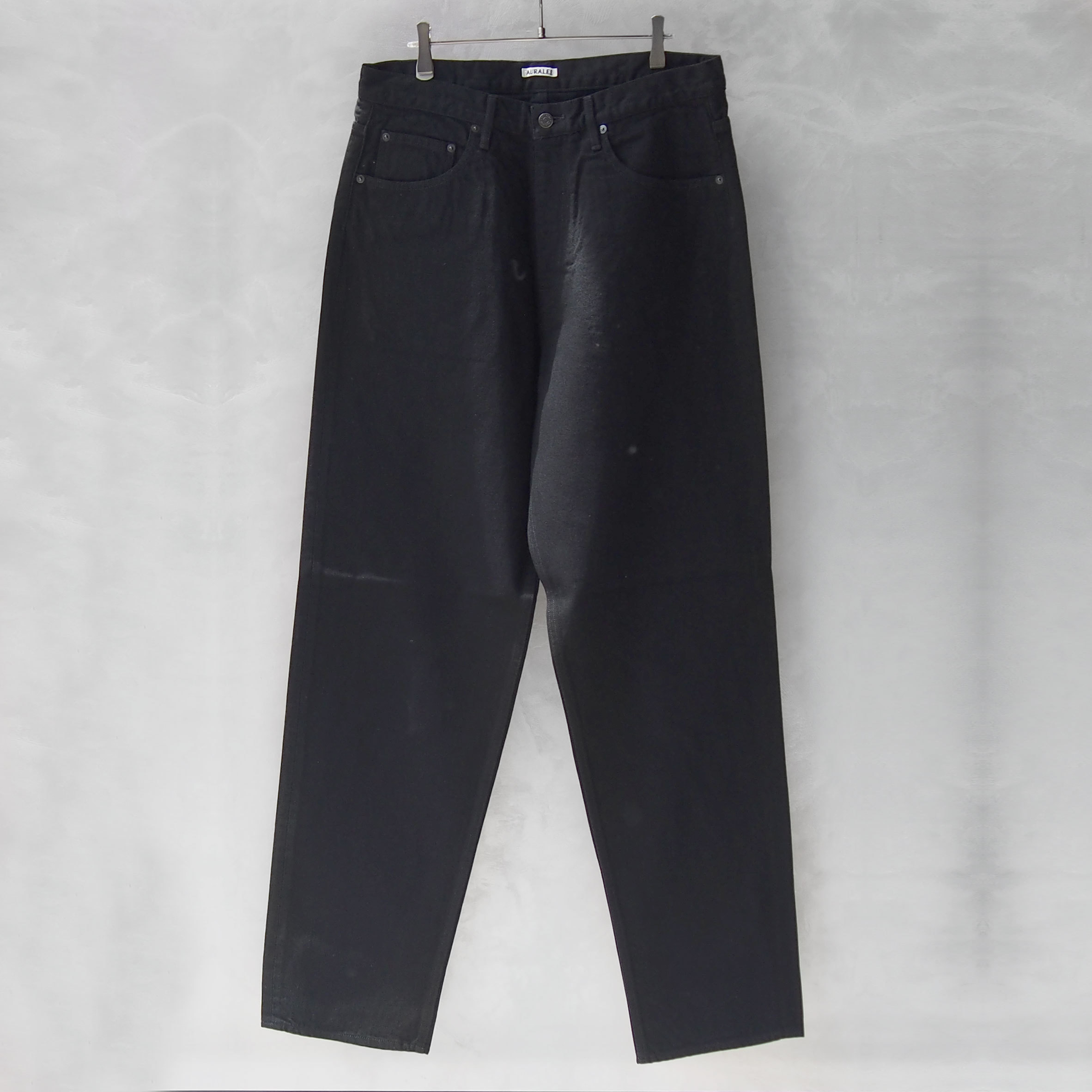AURALEE HARD TWIST DENIM WIDE PANTS BLACK