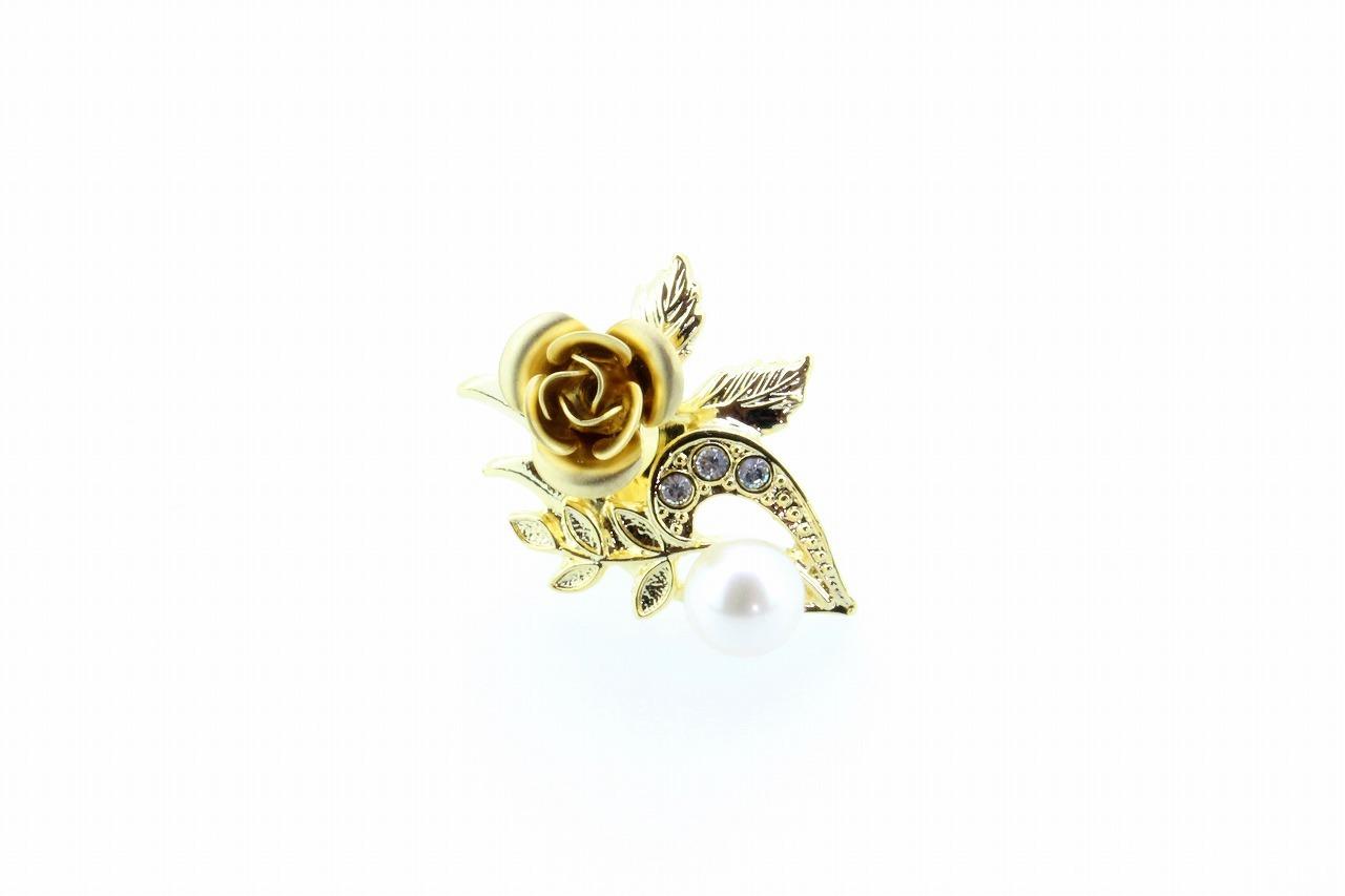 アコヤ真珠 ピンブローチ〈バラ〉