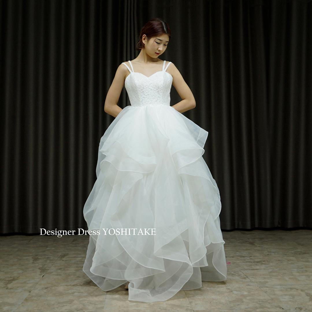 【オーダー制作】ウエディングドレス(無料パニエ) オーガンジーふわふわカジュアル白ドレス.レストランウエディング/前撮り/フォト婚※制作期間3週間から6週間