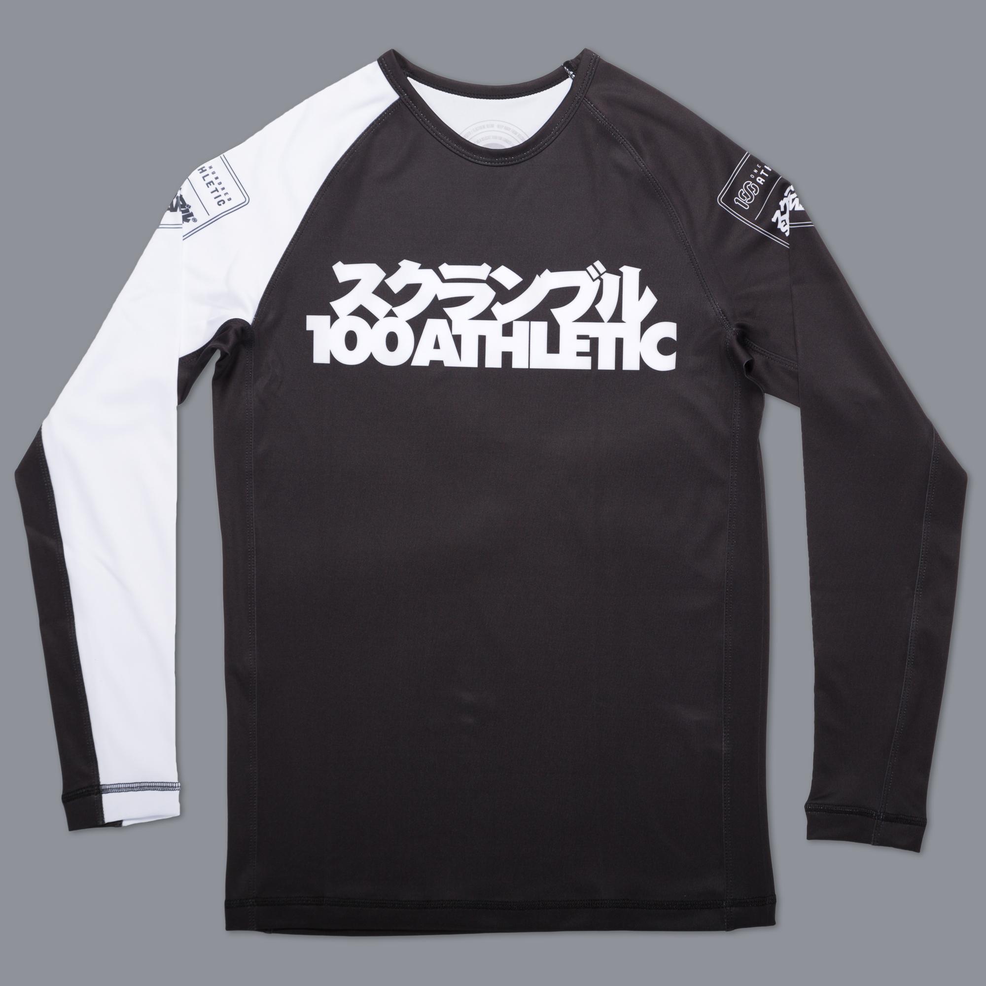 SCRAMBLE x 100A RASHGUARD ブラック/ホワイト|ラッシュガード