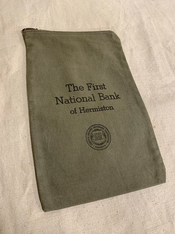 """BANK BAG """" THE FIRST NATIONAL BANK OF HERMISTON """""""