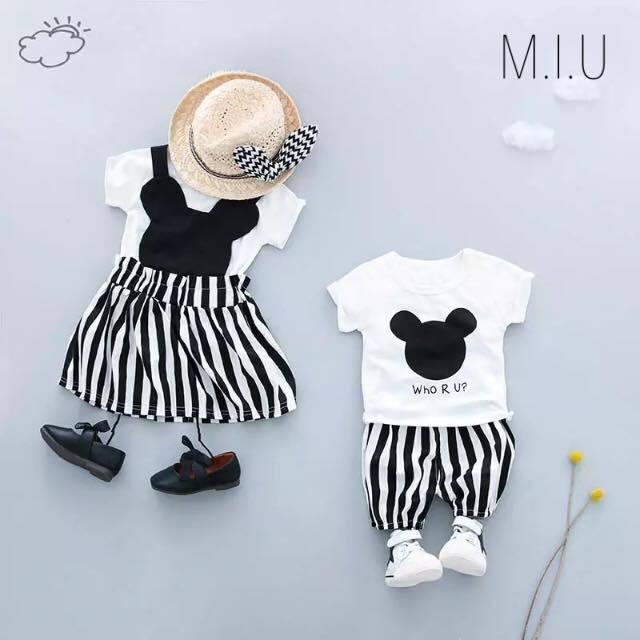 Tシャツ&ボーダースカートorパンツ #MIU561
