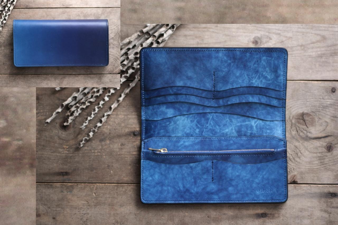 藍染革[migaki] 長財布【天藍×海光】