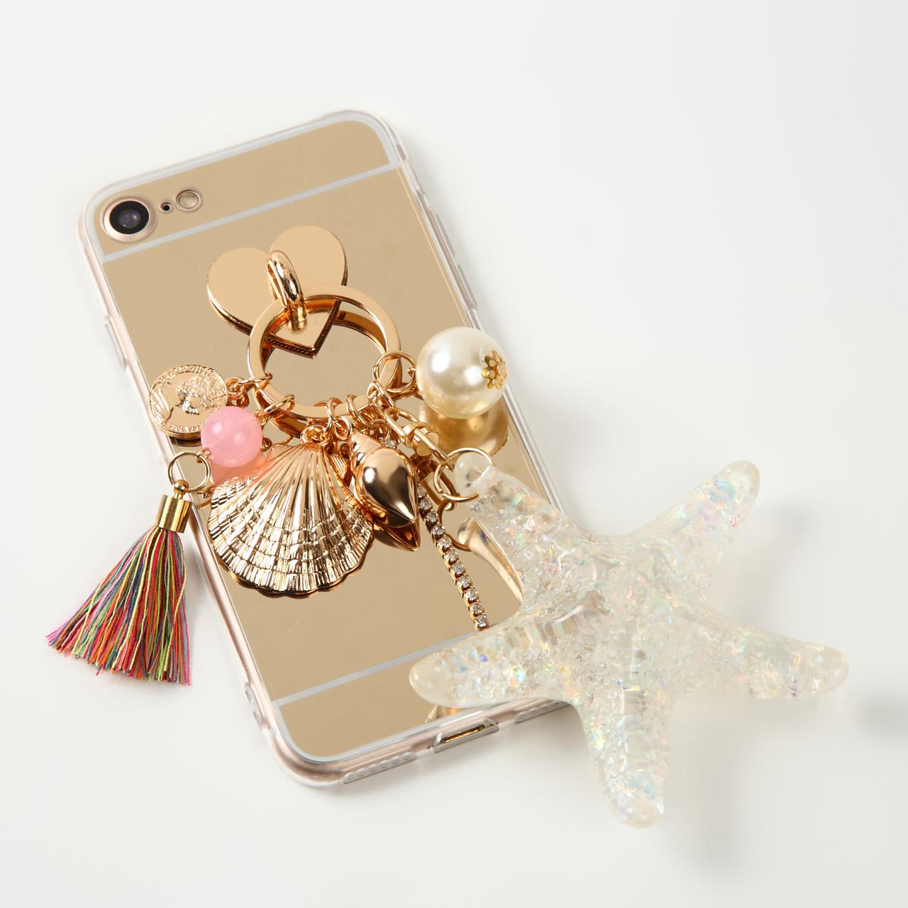 【即納★送料無料】ゴールドミラーソフトケースにヒトデ 貝殻 チャーム付 iPhoneケース