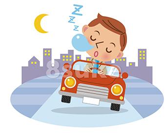 イラスト素材:居眠り運転イメージ/背景有り(ベクター・JPG)