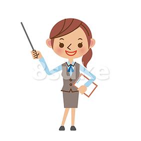 イラスト素材:指し棒を使って説明するOL・事務職の女性(ベクター・JPG)