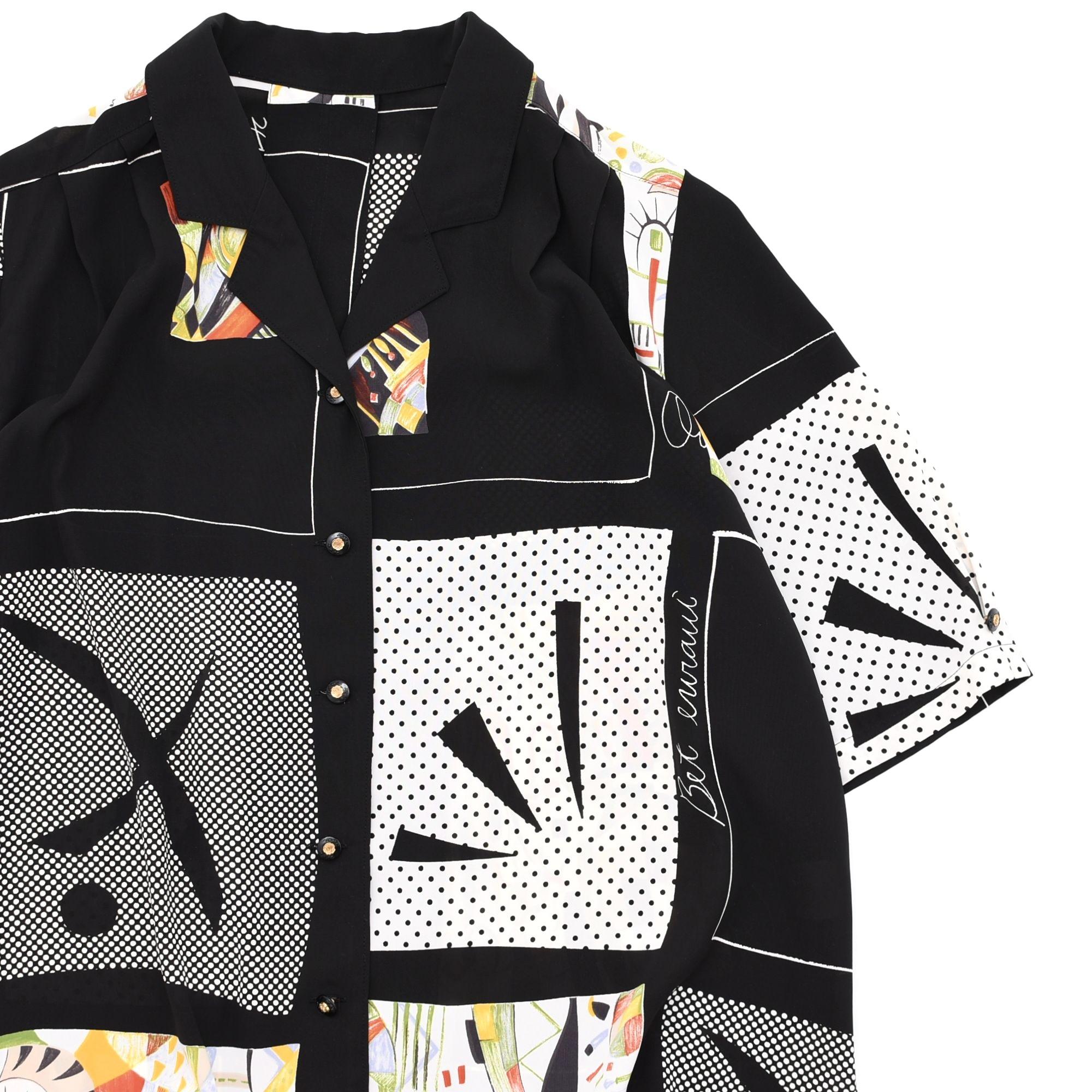 JAPAN vtg Modern art design notched lapel shirt Made in JAPAN