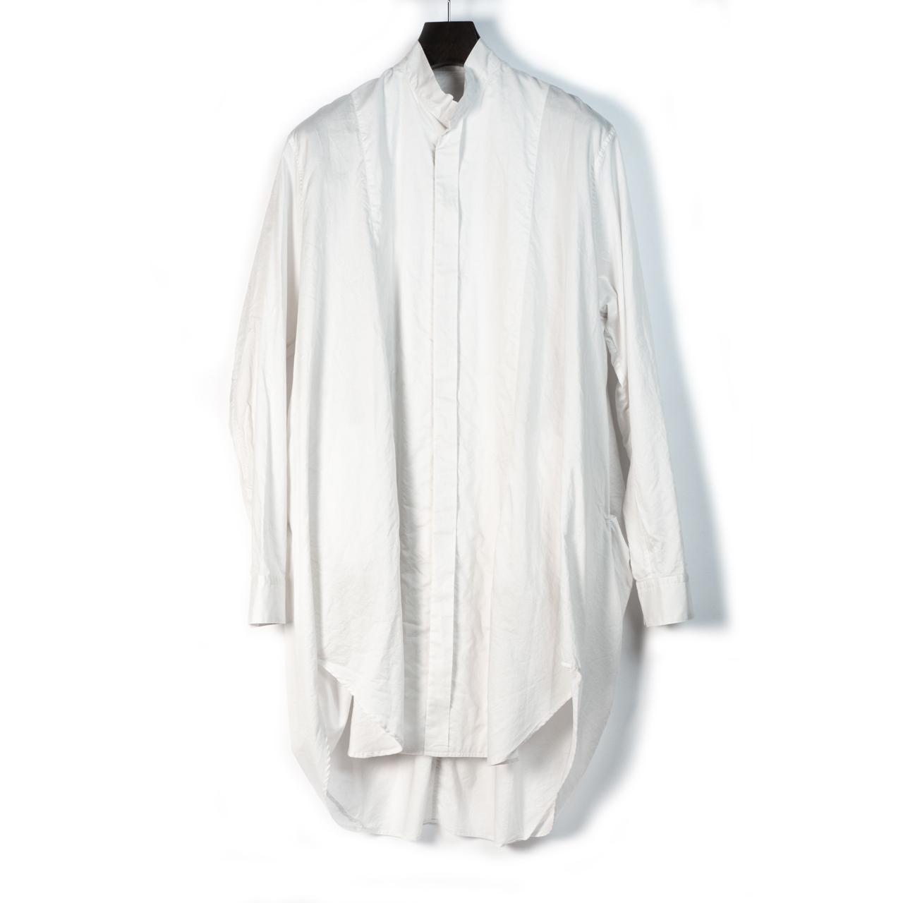 697SHM2-WHITE / スタンドカラーロングシャツ