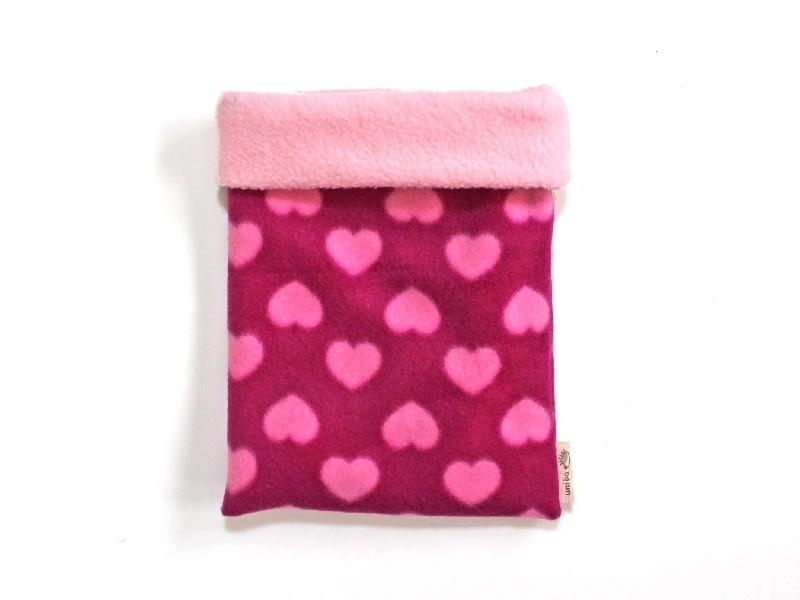 ハリネズミ用寝袋 M(冬用) フリース×フリース ハート ピンク