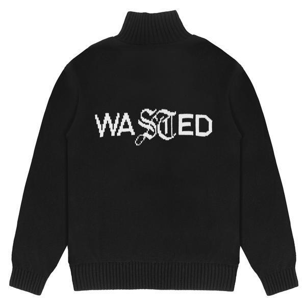 WASTED PARIS Signature Logo Turtleneck Sweater BLACK