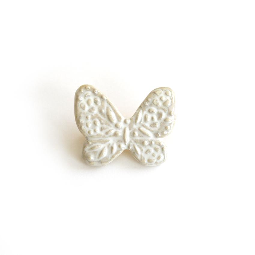 蝶のブローチ・ホワイト (灯々舎)