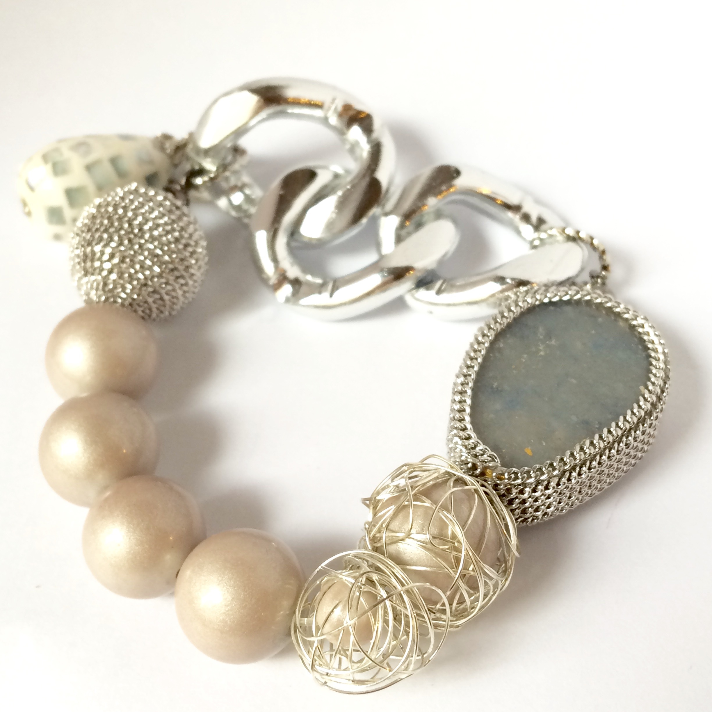 【 UNSEABLE 】Stone cherm braceret / Silver