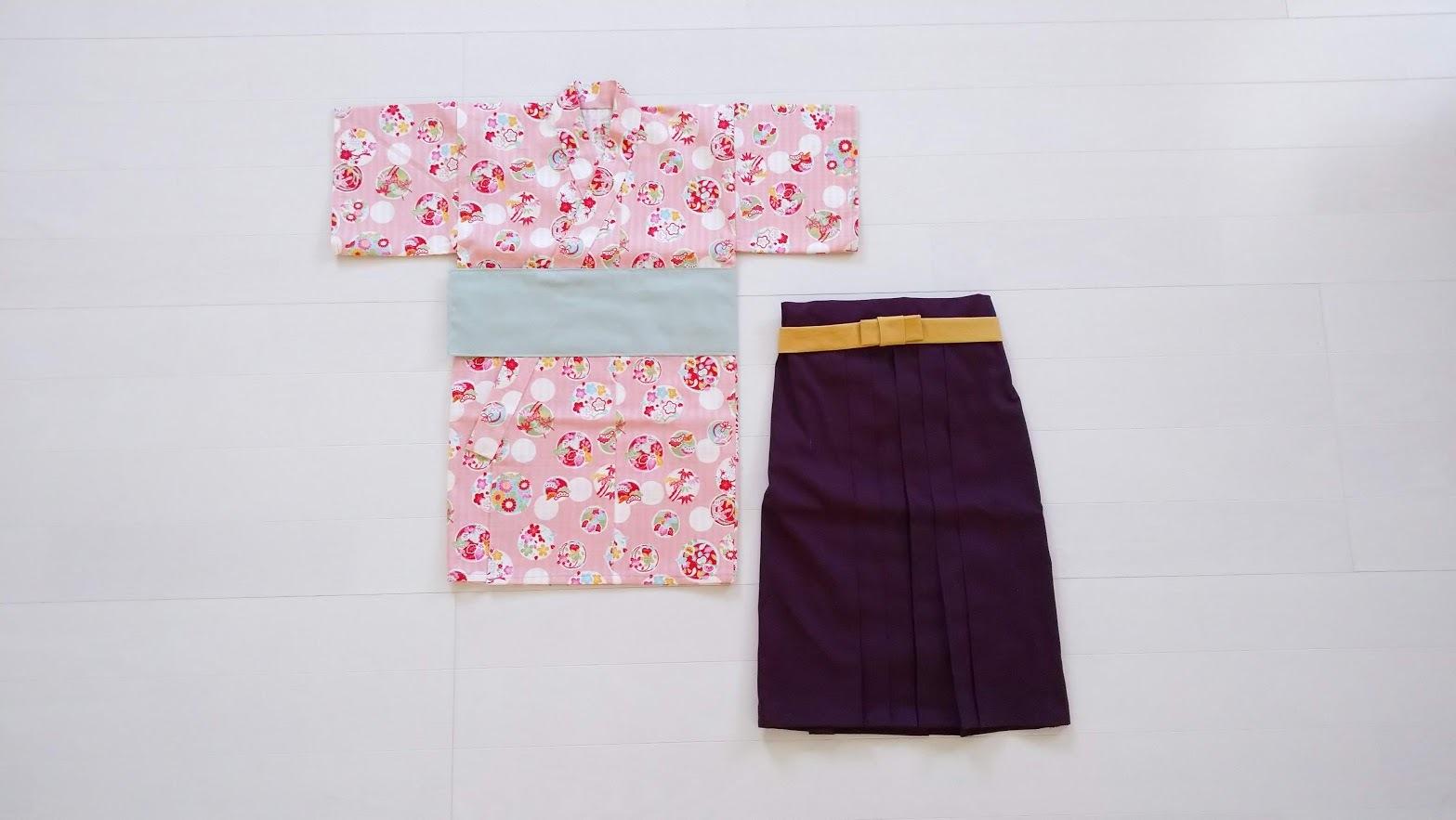 ファースト着物と袴のセット(水玉花紋)